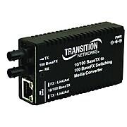 Transition Networks® M/E-PSW-FX-02 RJ-45 to SC Port Mini Fast Ethernet Media Converter, Black