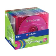 Verbatim® DataLifePlus® 96685 700MB CD-RW Recordable Media with Color Branded Surface, Slim Case, 20/Pack