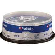 Verbatim® 98909 25GB BD-R Recordable Media with Branded Surface, Spindle, 25/Pack