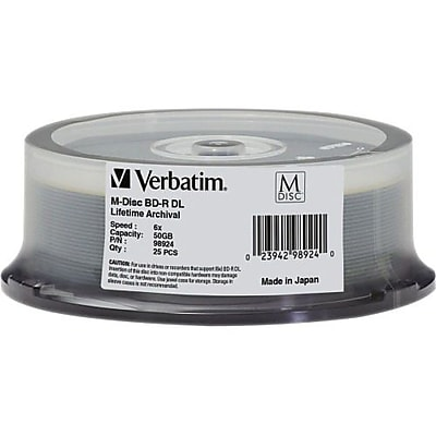 Verbatim® 98924 50GB BD-R DL Recordable Media with Branded Surface, Spindle, 25/Pack