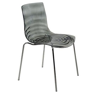 LeisureMod Astor Side Chair; Transparent Black