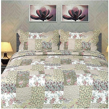 Tache Home Fashion Flora's Outing Floral Bedspread Set; Queen
