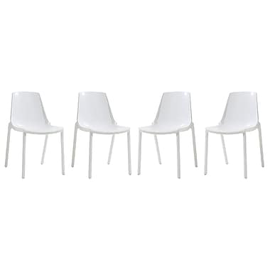 LeisureMod Clover Side Chair (Set of 4); White