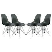 LeisureMod Cresco Side Chair (Set of 4); Transparent Black