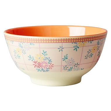 Rice Two Tone Melamine Embroidered Flower Bowl
