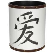 Oriental Furniture Love Calligraphy 2.9 Gallon Fabric Trash Can