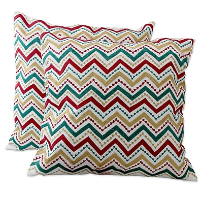 Novica Festive Zigzag Embroidered Pillow Cover (Set of 2)