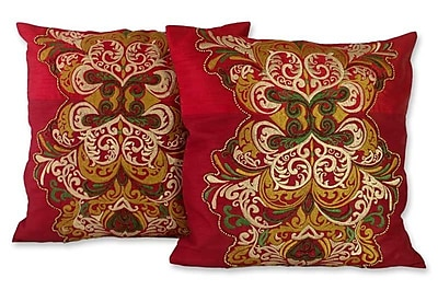Novica Celebration Hand Beaded Embroidered Pillow Cover (Set of 2)