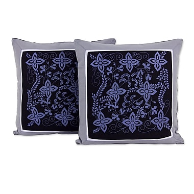 Novica Cheesewood Artisan Crafted Floral Cotton Pillow Cover (Set of 2)