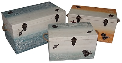 Cheungs 3 Piece Coastal Wood Trunk Set w/ Resin Decal and Rope Handle WYF078278935656