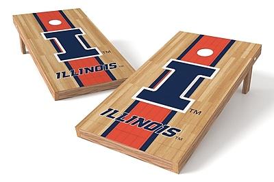 Tailgate Toss NCAA Hardwood Game Cornhole Set; Illinois Fightin Illini