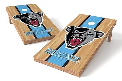 Tailgate Toss NCAA Hardwood Game Cornhole Set; Maine Black Bears