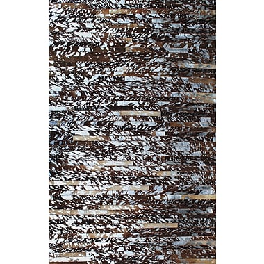 Modern Rugs Patchwork Natural Stripe Brown Area Rug; Rectangle 5' x 8'