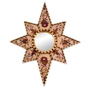 Novica Star of Love Handmade Cedar Wood Glass Wall Mirror