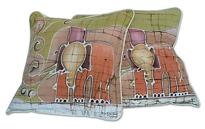 Novica Father and Son Handcrafted Batik Elephant Cotton Pillow Cover (Set of 2)