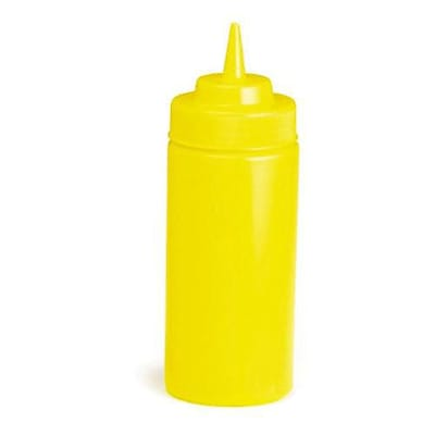 Tablecraft 16 Oz. Yellow Wide Mouth Squeeze Bottle (11663M)