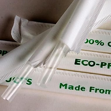 Eco-Products Jumbo Clear Wrapped Straws, 9 1/2