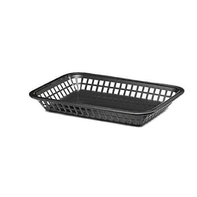 Tablecraft Rectangular Black Plastic Platter Baskets, 12/CT (1077BK)
