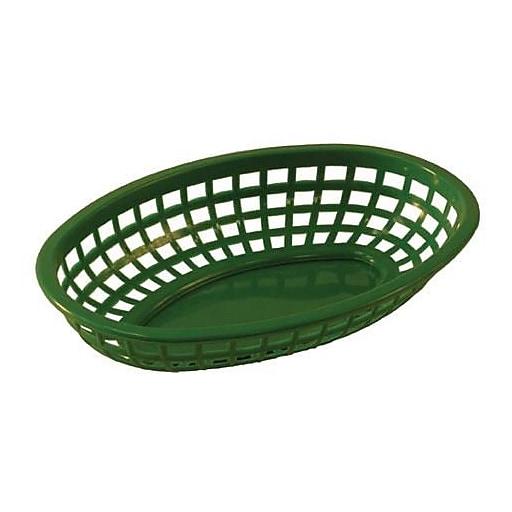 Tablecraft Oval Green Plastic Baskets 12/CT (1074G)