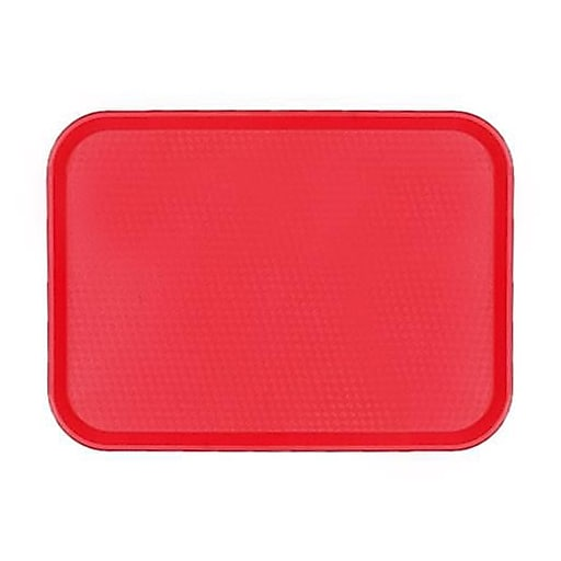 """Cambro 14"""" x 18"""" Red Fast Food Tray, 17 3/4""""L x 13 13/16""""W, Red (1418FF163)"""