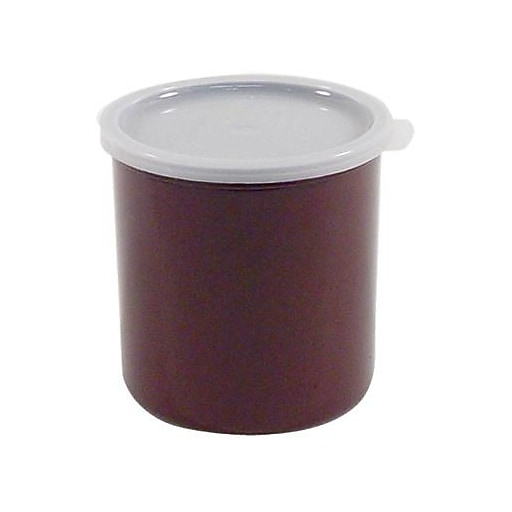 """Cambro 1 1/5 Qt. Brown Crock with Lid, 5 1/16"""" Dia x 4 3/16"""" H, Brown (CP12195)"""