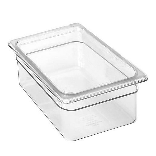 "Cambro 1/2 Size Clear Plastic Food Pan, 7 3/4"" H x 12 3/4"" W x 10 3/8"" D, Clear (28CW135)"