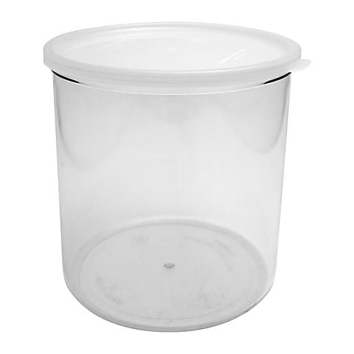 """Cambro 2.7 Qt. Clear Crock with Lid, 6 7/8"""" H x 6 3/4"""" W x 6 3/4"""" D, Clear (CCP27152)"""