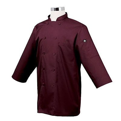 Chef Works 3/4 Sleeve Coat, Merlot, Large (JLCL-MER)