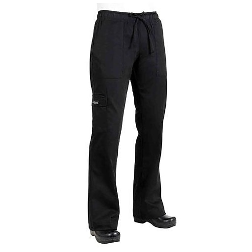 Chef Works Women's Cargo Chef Pants, Black, XL (CPWO-BLK-XL)