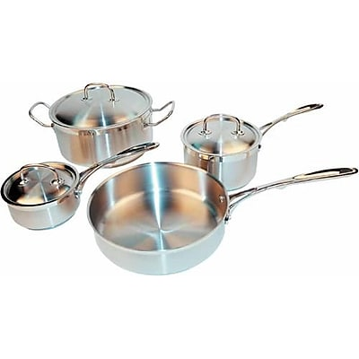 Winco 7 Piece Stainless Steel Cookware Set, 4/Pack (SPC-7H)