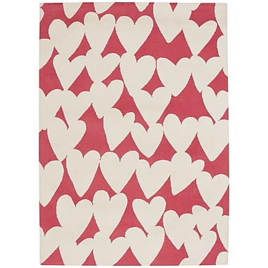 Capel Hable Construction Confectionary Valentine Machine Tufted Azalea Buff Area Rug; 2' x 3'