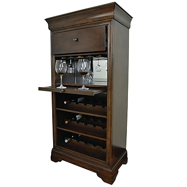 RAM Game Room Bar Cabinet w/ 15 Bottle Wine Bar; English Tudor