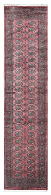 Herat Oriental Tribal Bokhara Hand-Knotted Pink Area Rug