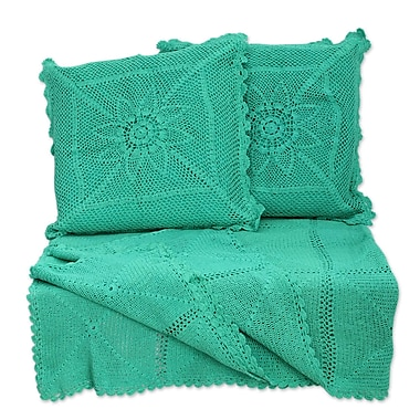Novica 3 Piece Jaipur Cotton Throw and Pillow Cover Set; Mint Crocheted