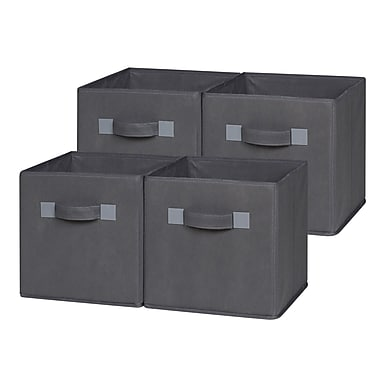 OneSpace Foldable Cloth Storage Cube (Set of 4); Gray