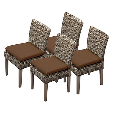 TK Classics Cape Cod Dining Side Chair w/ Cushion (Set of 4) (Set of 4); Cocoa