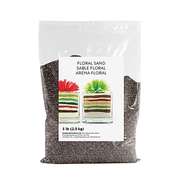Sandtastik® Floral Coloured Sand, 5 lb (2.3 kg) Bag, Graphite, 6/Pack