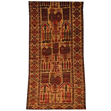 Herat Oriental Afghan Tribal Balouchi Hand-Knotted Beige/Red Area Rug
