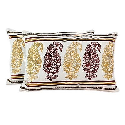Novica Floral Paisley Embroidery Cotton Pillow Cover