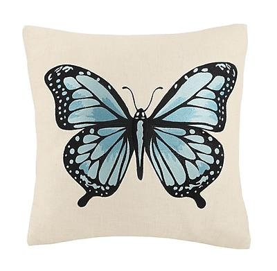 Laurel and Mayfair Vanderbilt Butterfly Embroidery Wool Throw Pillow