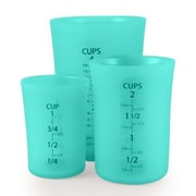 Flirty Kitchens 3 Piece Silicone Flexible Liquid Measuring Cup Set; Teal