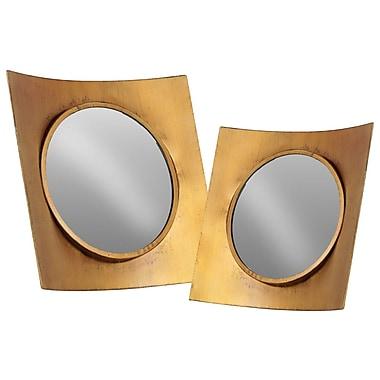 Urban Trends 2 Piece Metal Wall Mirror Set; Gold
