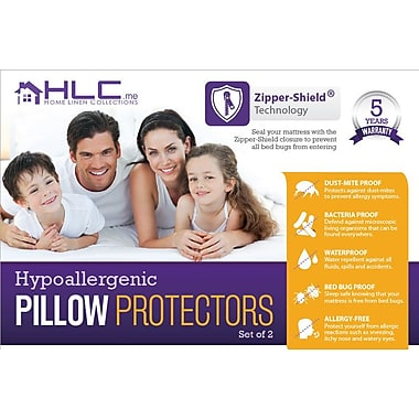 HLC.ME Bed Bug Proof Zippered Pillow Protector (Set of 2); King