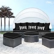 SolisPatio Sombra Daybed w/ Cushions; Black/White