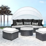 SolisPatio Sombra Daybed w/ Cushions; White/Black