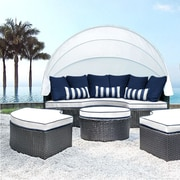 SolisPatio Sombra Daybed w/ Cushions; White/Navy