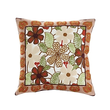 ElightHome Aster Embroidered Cotton Throw Pillow