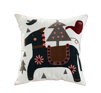 ElightHome Colt Embroidered Cotton Throw Pillow