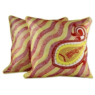 Novica Paisley Sun Embroidered Applique Pillow Cover (Set of 2)