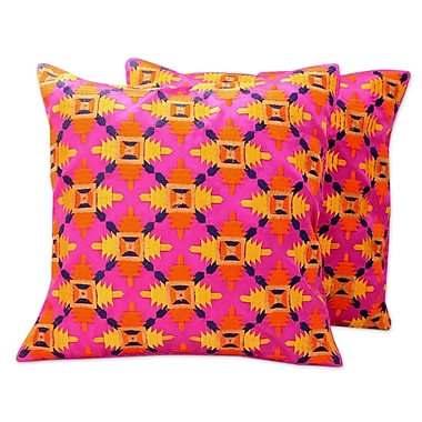 Novica Party Embroidered Square Pillow Cover (Set of 2)